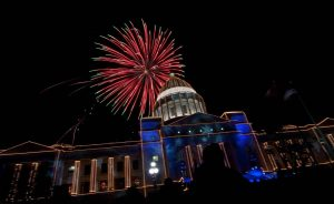 The Capitol gets fireworks during the holiday lighting, usually the first weekend in December.